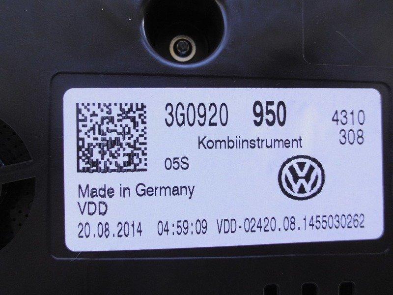 SPEEDOMETER INSTRUMENT CLUSTER METER VW PASSAT B8 3G0920950 | (9