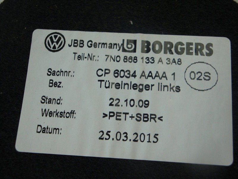 UNDERLAY FOR DOOR COMPARTMENT LEFT VW SHARAN 7N0868133A